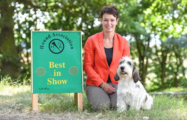 Sara Roberston with Multiple Best in Show winner Petit Basset Griffon Vendeen, Ch Soletrader Magic Mike, co-owned with Wendy Doherty, taking the top spot at the Houndshow 2018.
