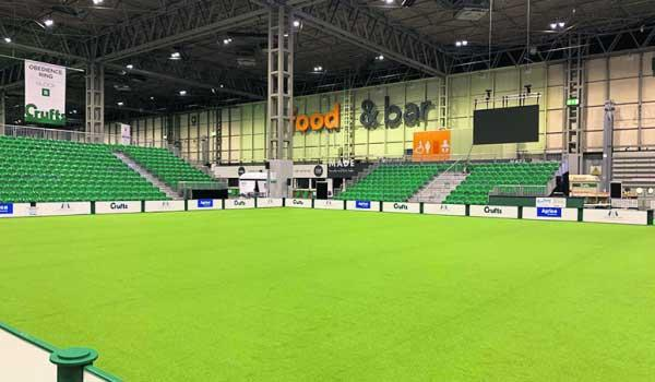 So close: an empty ring at Crufts, which went ahead after last minute talks. One week later and the show would almost certainly have been postponed or cancelled for public safety.