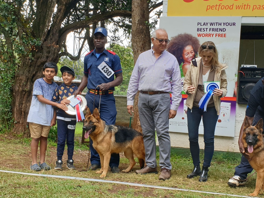 Dog CC (left) and Res. CC (right) with judge, owner, GDS League chairman, speaker and ring steward. The young handler on the left was awarded best Handler in Show. In the middle (pink shirt) is the vice chairman of the East African Kennel Club & chairman of GSD League.
